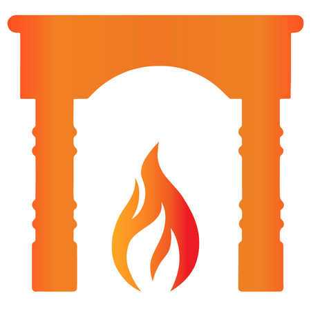 Fireplace with flame flat icon. Simple icon. EPS10 vector. Foto de archivo - 125014822