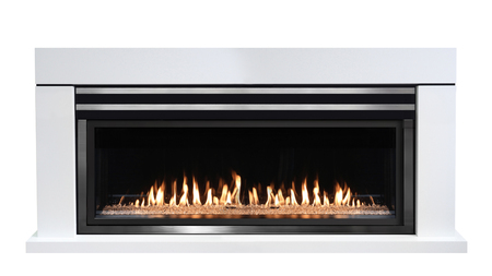 Gas Fireplace isolated on white background.