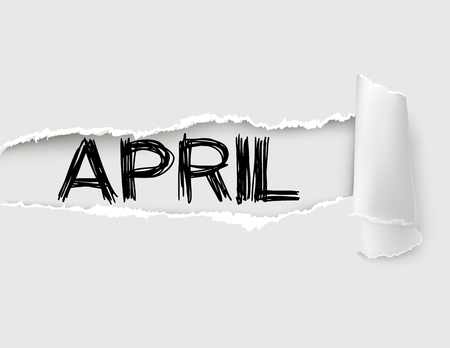 The word April appearing behind white torn paper.