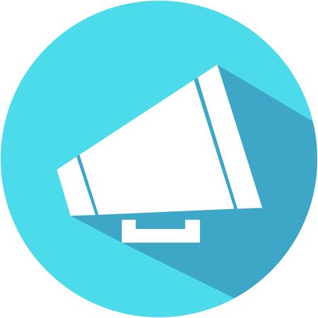 Blue Megaphone icon. Flat design. Vector Illustration.
