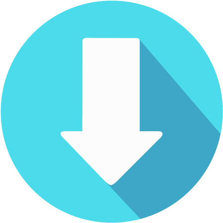 Download icon. Upload button. Load symbol. Round button. Vector. Arrow point to down.