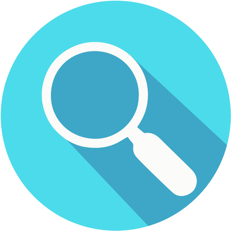 Magnifying glass blue vector icon with long shadow. Flat design style.