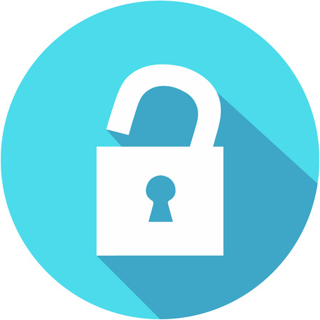 Unlock Flat Blue Simple Icon with long shadow. Flat design style.