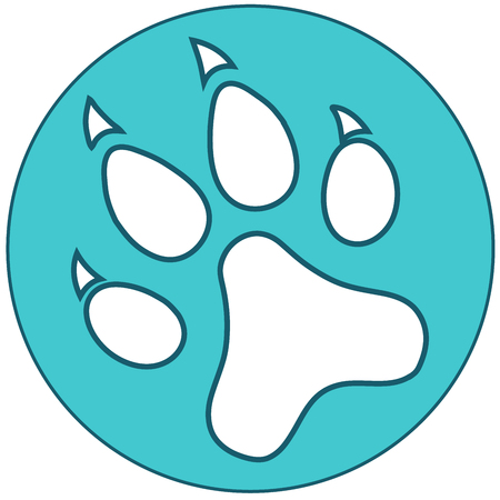 Blue Paw icon flat. Vector illustration symbol.