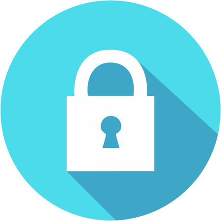 Lock flat icon. Icon vector with long shadow. Flat design style.