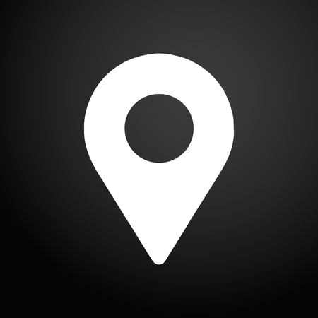 Location icon. Black flat square button.