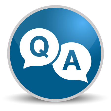 Question answer blue glossy round vector icon. Editable modern design internet button on white background.