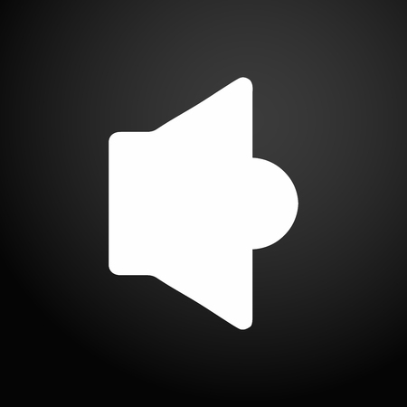 Speaker icon on flat square button. Vector illustration.