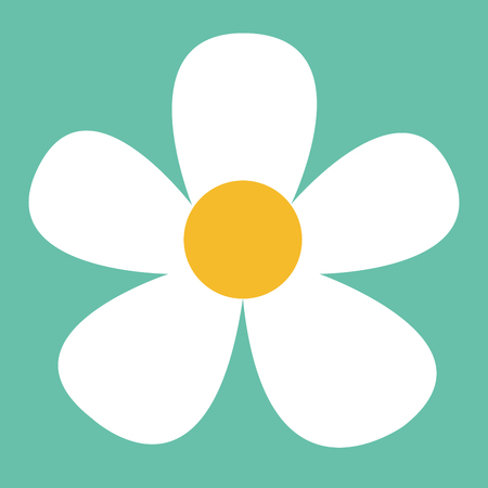 White daisy flower in flat style. Vector simple illustration.  イラスト・ベクター素材
