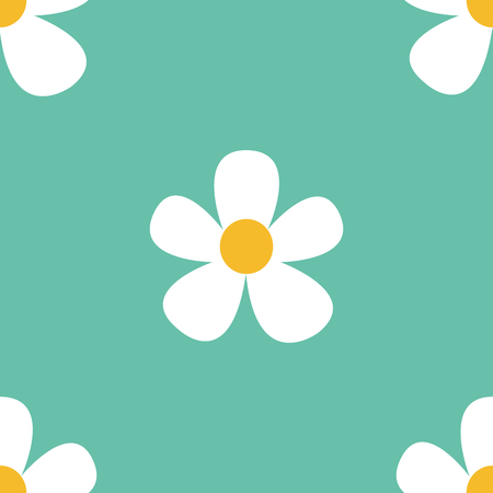 White camomiles.Vector seamless pattern.