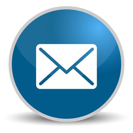 Botón redondo azul con icono de correo para diseño web. Ilustración de vector