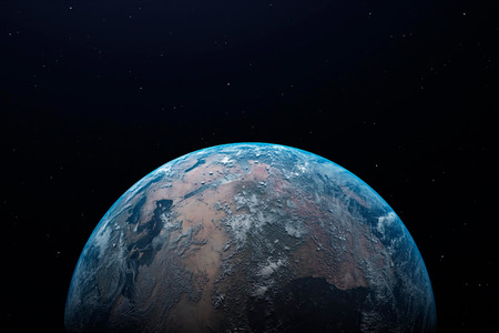 Earth at night as seen from space with blue, glowing atmosphere and space at the top. 3d illustration. Banco de Imagens