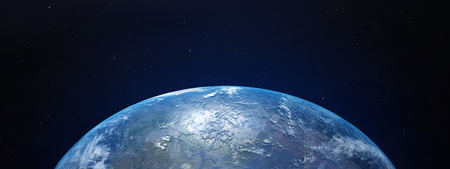 View of blue planet Earth in space with her atmosphere. 3D rendering, elements of this image furnished by NASA