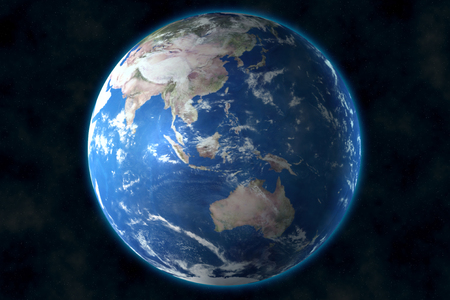 View of blue planet Earth in space. 3D rendering, elements of this image furnished by NASA
