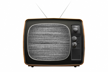 Old TV with noise on screen. Retro Television concept. No signal. 3D Illustration.