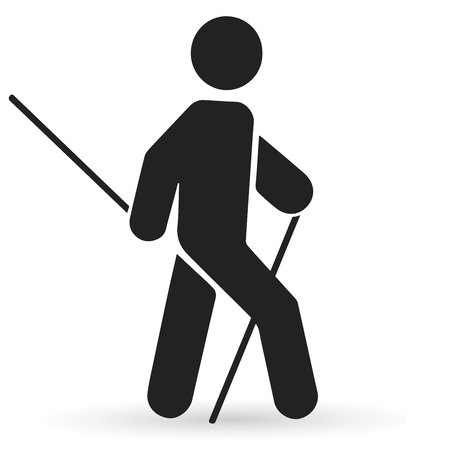 Man doing nordic walking icon vector. Illustration