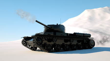 Military armored tank moves through the snow. Photo realistic 3d render Imagens - 124871932
