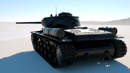 Military armored tank moving at a desert. Photo realistic 3d render Imagens - 124871934