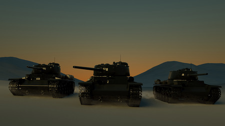 Group of Heavy Military Tanks Moving in Desert Landscape at Sunset. 3D Rendering.