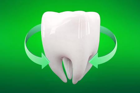3D rendering sparkling white teeth isolated on green background.