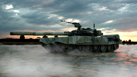 Heavy Military Tank in Battlefield Landscape at Sunset with Beautiful Sky. 3D Rendering Imagens - 124874124