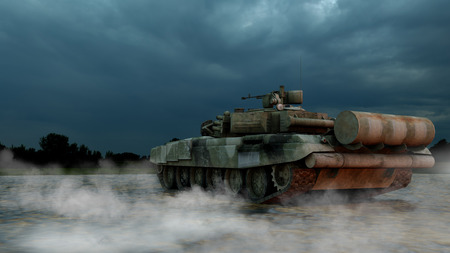 Heavy Military Tank in Battlefield Landscape at Sunset with Beautiful Sky. 3D Rendering