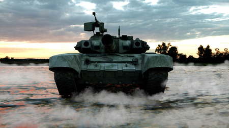 Heavy Military Tank in Battlefield Landscape at Sunset with Beautiful Sky. 3D Rendering Imagens - 124874126