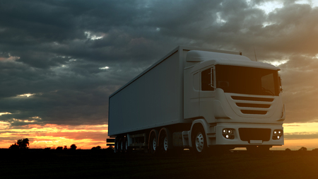 Large freight truck driving on a highway at sunset backlit by a bright orange sunburst under an ominous cloudy sky. 3d Rendering