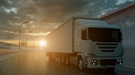 Truck driving on a highway at sunset backlit by a bright orange sunburst under an ominous cloudy sky. Transports, logistics concept. 3d rendering Imagens - 124874136