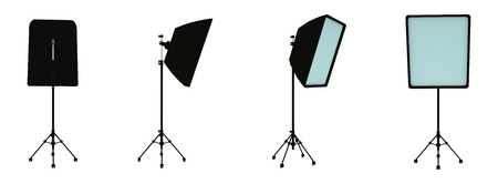 Large softbox lighting set on a stand in different angles. Studio lighting. Photographers equipment. Lighting stand. 3d rendering
