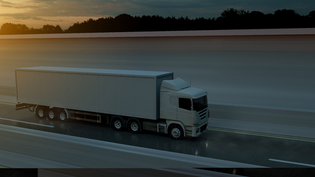Large freight truck driving on a highway at sunset backlit by a bright orange sunburst under an ominous cloudy sky. 3d Rendering Imagens - 124874152