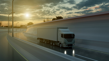 Truck driving on a highway at sunset backlit by a bright orange sunburst under an ominous cloudy sky. Transports, logistics concept. 3d rendering