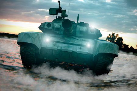 Heavy Military Tank in Battlefield Landscape at Sunset with Beautiful Sky. 3D Rendering. Imagens