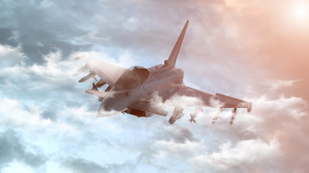 Bomber flying on a background of the sky. 3d render. Archivio Fotografico - 125054588