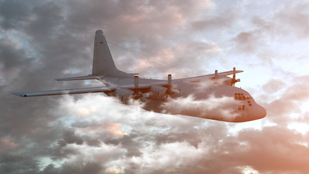 Retro Bomber flying on a background of the sky. 3d render. Archivio Fotografico - 125054589