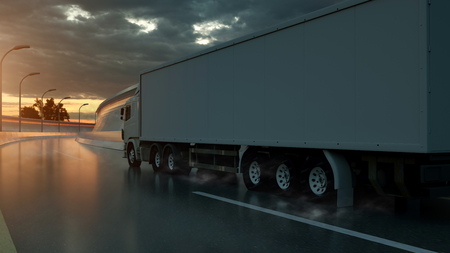 Truck speeding on the highway, side view. Transportation, shipping industry concept. 3D illustration. Stock Photo