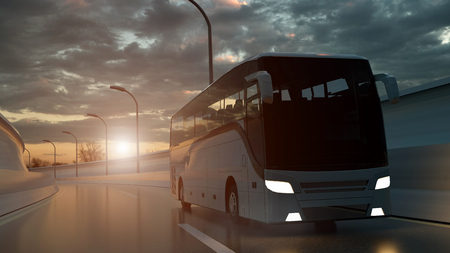 Tourist white bus driving on a highway at sunset backlit by a bright orange sunburst under an ominous cloudy sky. 3d Rendering. Stock Photo