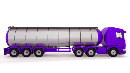 Fuel gas tanker truck isolated. 3D rendering.