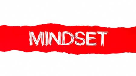Mindset word written under red torn paper.