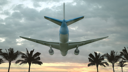 Airplane flying at sunset over the tropical land with palm trees. 3D illustration. Stockfoto