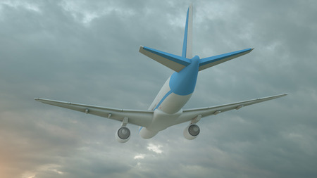 3D rendering of a commercial airplane flying above clouds in sunset light. Concept of fast travel, holidays and business.