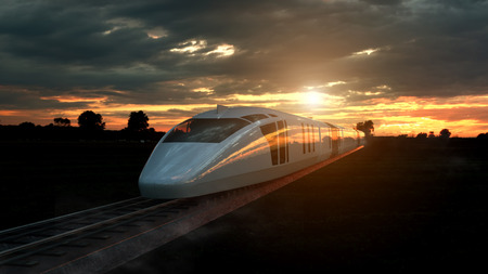 Electric passenger train at sunset backlit by a bright orange sunburst under an ominous cloudy sky. 3d Rendering. 스톡 콘텐츠