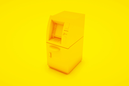 ATM Bank Cash Machine Isolated on yellow background - 3d Illustration. Zdjęcie Seryjne - 125338195