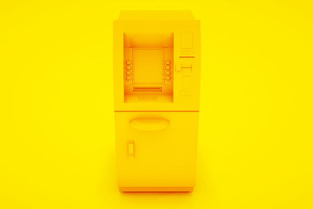 ATM Bank Cash Machine Isolated on yellow background - 3d Illustration.