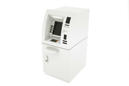 Bank Cash ATM Machine on a white background. 3d Rendering.