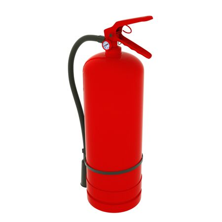 Blank red fire extinguisher on white background 3D illustration.