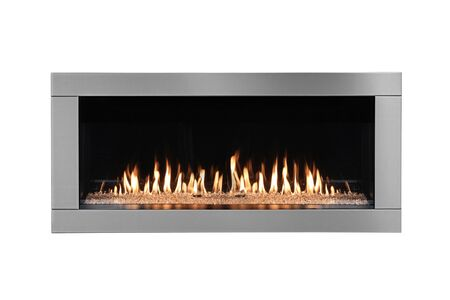 Burning gas fireplace isolated on white background.