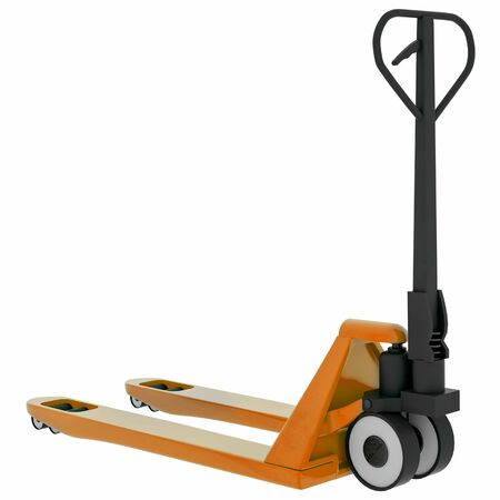Hand pallet truck isolated on white background. 3d illustration.