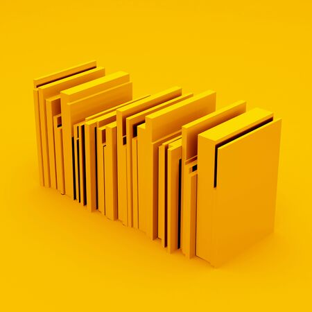 Simplified Yellow Stack of Books. 3d illustration.