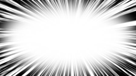 Comic book radial lines background. Manga speed frame. Explosion illustration. Star burst or sun rays abstract backdrop. Stock Photo